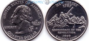 25 центов 1999 03(B)-New Jersey (D) Тип I