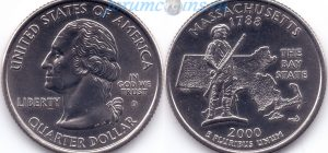 25 центов 2000 06(B)-Massachusetts (D) Тип I