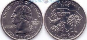 25 центов 2000 08(B)-South Carolina (D) Тип I