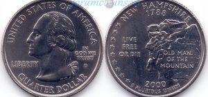 25 центов 2000 09(B)-New Hampshire (D) Тип I