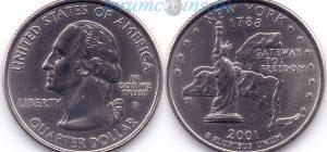 25 центов 2001 11(B)-New York (D) Тип I