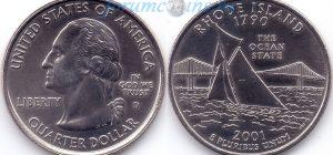 25 центов 2001 13(B)-Rhode Island (D) Тип I