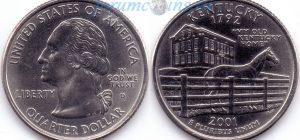 25 центов 2001 15(B)-Kentucky (D) Тип I
