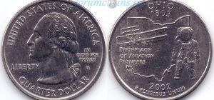 25 центов 2002 17(B)-Ohio (D) Тип I