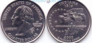 25 центов 2002 19(B)-Indiana (D) Тип I