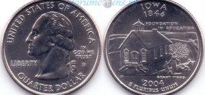 25 центов 2004 29(B)-Iowa (D) Тип I