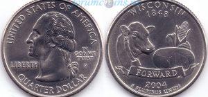 25 центов 2004 30(A)-Wisconsin (P) Тип I