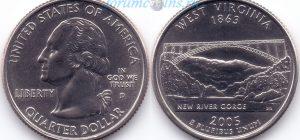 25 центов 2005 35(B)-West Virginia (D) Тип I