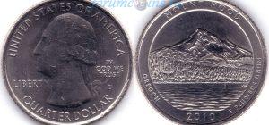 25 центов 2010 05(B)-Mount Hood-Oregon (D) Тип I