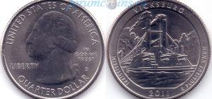 25 центов 2011 09(B)-Vicksburg-Mississippi (D) Тип I