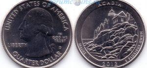 25 центов 2012 13(B)-Acadia-Maine (D) Тип I