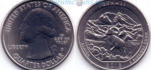 25 центов 2012 15(B)-Denali-Alaska (D) Тип I