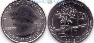 25 центов 2013 19(B)-Fort McHenry-Maryland (D) Тип I