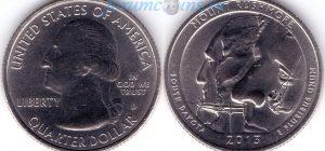 25 центов 2013 20(B)-Mount Rushmore-South Dakota (D) Тип I