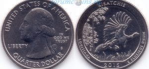 25 центов 2015 27(C)-Kisatchie-Louisiana (S) Тип I