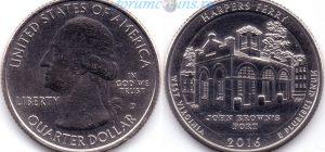 25 центов 2016 33(B)-Harpers Ferry-West Virginia (D) Тип I