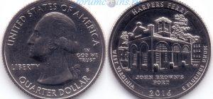 25 центов 2016 33(C)-Harpers Ferry-West Virginia (S) Тип I