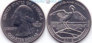 25 центов 2018 44(C)-Cumberland Island-Georgia (S) Тип I