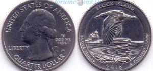 25 центов 2018 45(C)-Block Island-Rhode Island (S) Тип I