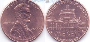1 цент 2009 04(A)-Presidency in Washington, D.C. Тип I