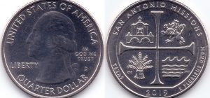 25 центов 2019 49(B)-San Antonio Missions-Texas (D) Тип I